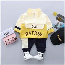 2019 Autumn New Kids Infant Sport Suit Toddler Boys Clothes Set Cotton  Letter Coat Pants Children Tracksuit