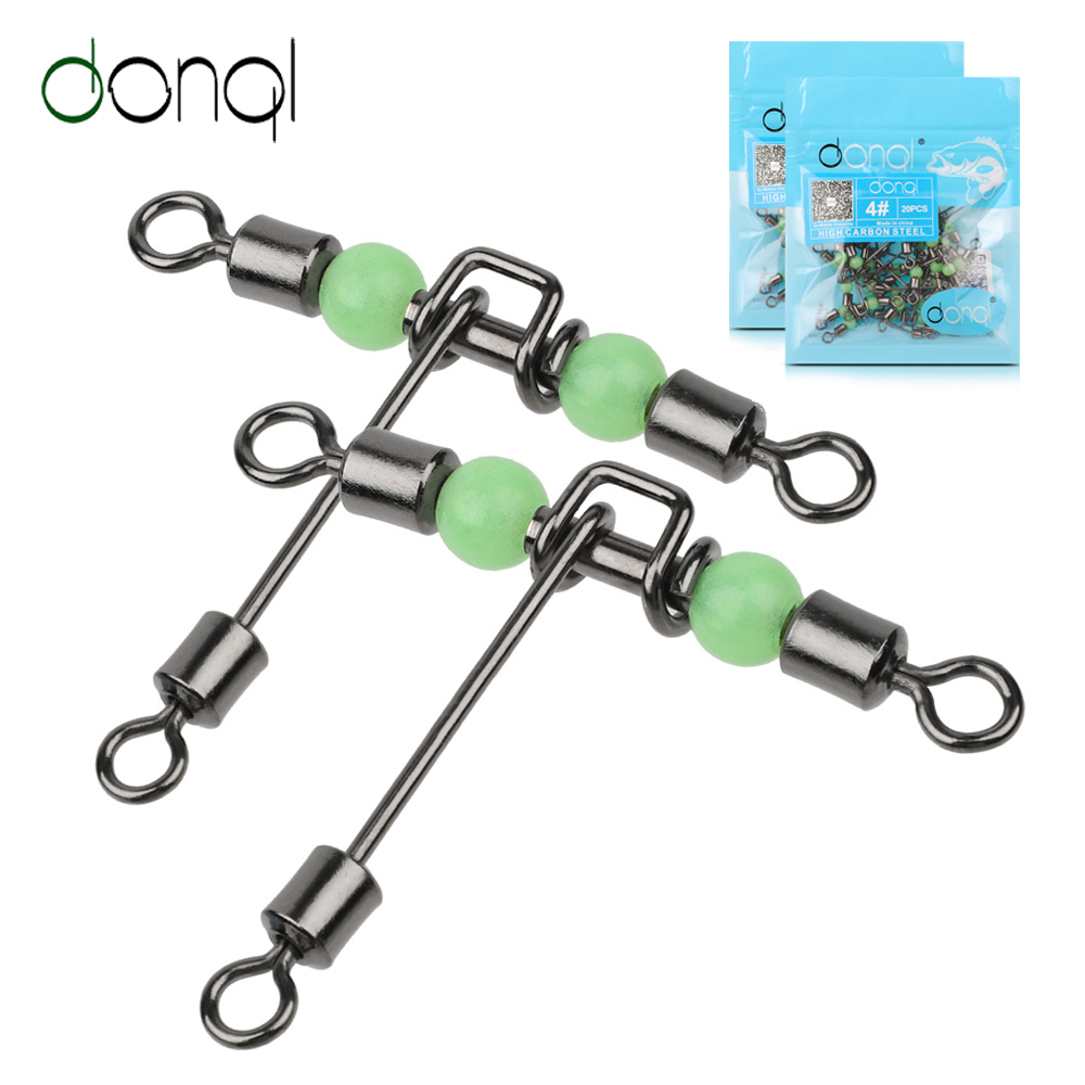 DONQL 5/20pcs Fishing Swivel Connector Bearing Rolling 3 Way T Shape Fishhook Lure Line Connector Fishing Tackle Luminous Beads