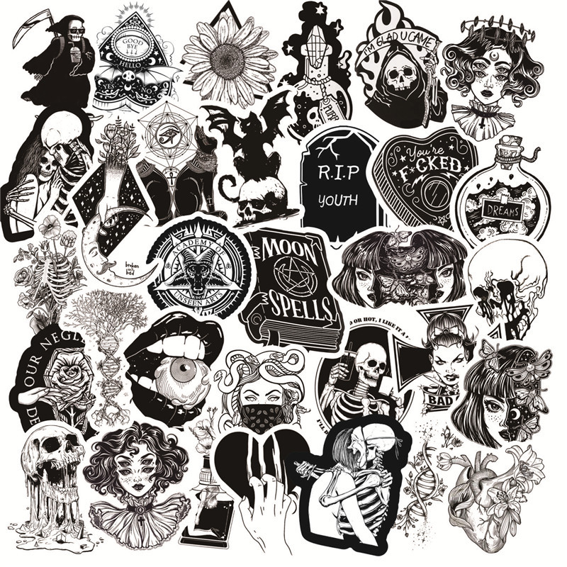 50Pcs/Pack Black White Gothic Style Horror Thriller Stickers Cool Pegatina For DIY Laptop Skateboard Guitar Car Decals Sticker