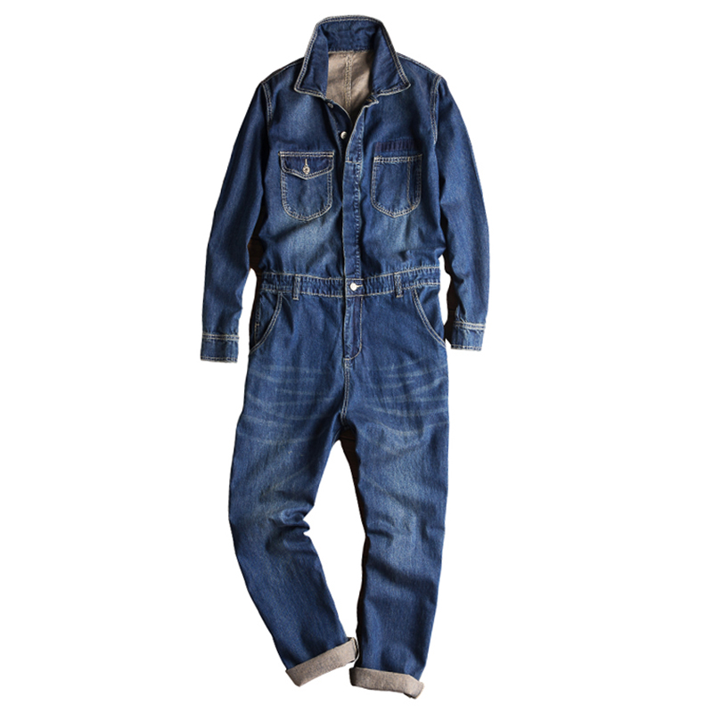 Sokotoo Men's Long Sleeve Turn Down Collar Denim Jumpsuits Pockets Jeans Blue Coveralls