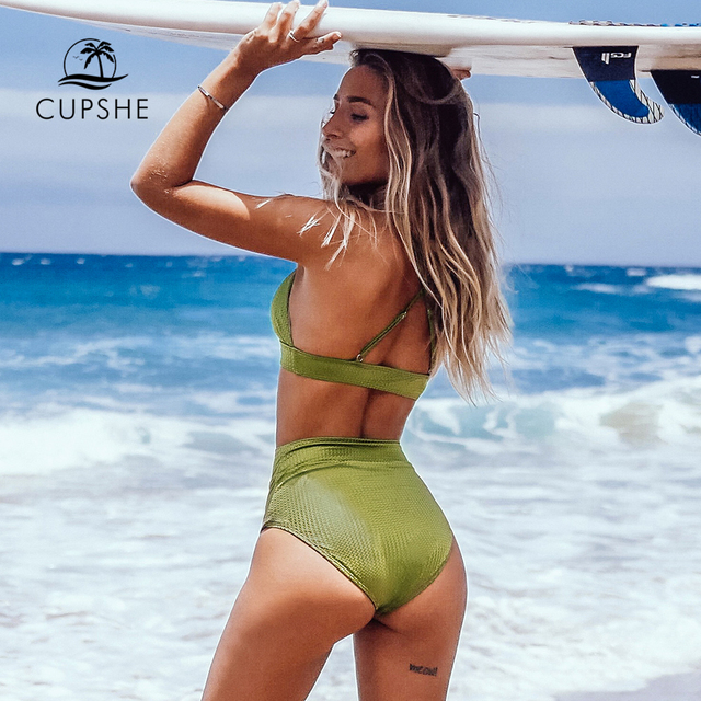 CUPSHE Lime Green Textured High-Waisted Triangle Bikini Sets Sexy Swimsuit Two Pieces Swimwear Women 2020 Beach Bathing Suit 2