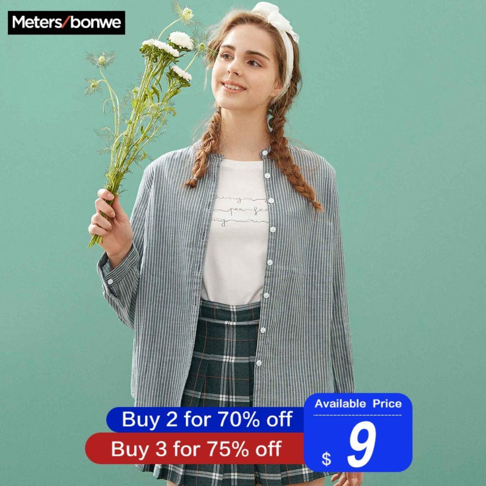 Metersbonwe New Fashion Women Basic Blouses Stripe Slim Fit Casual Button Square Collar Shirt Office Female Literary Retro Shirt