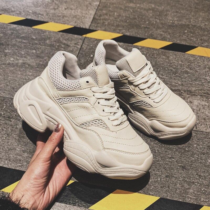 ¡Novedad de 2019! Zapatillas de deporte Tleni de suela gruesa para primavera y verano, zapatillas blancas de talla grande 35-40 ZW-06