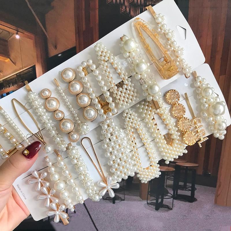 Simulated Pearl Barrettes Beaded Geometric Women Hair Clip Hairgrips Hair Accessories Girls Jewelry Fashion Hair Pins 1