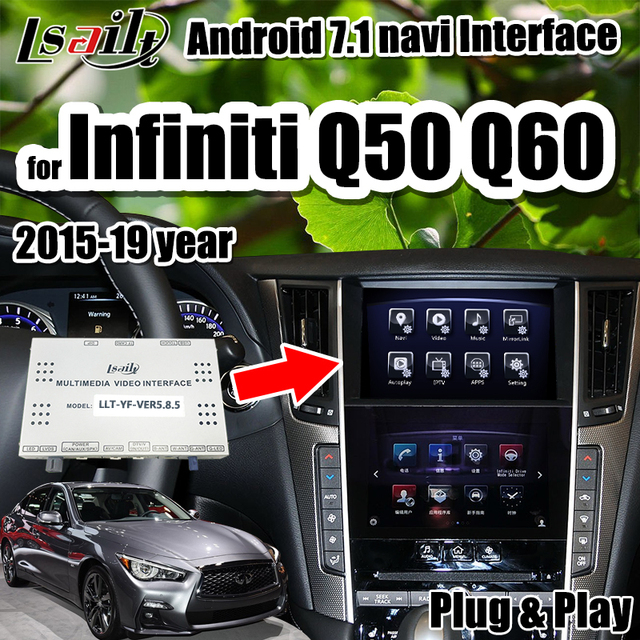 Android 7.1 GPS navigation Multimedia Video Interface support wireless carpaly/Android auto for Infiniti 2015-2019 Q50 Q60