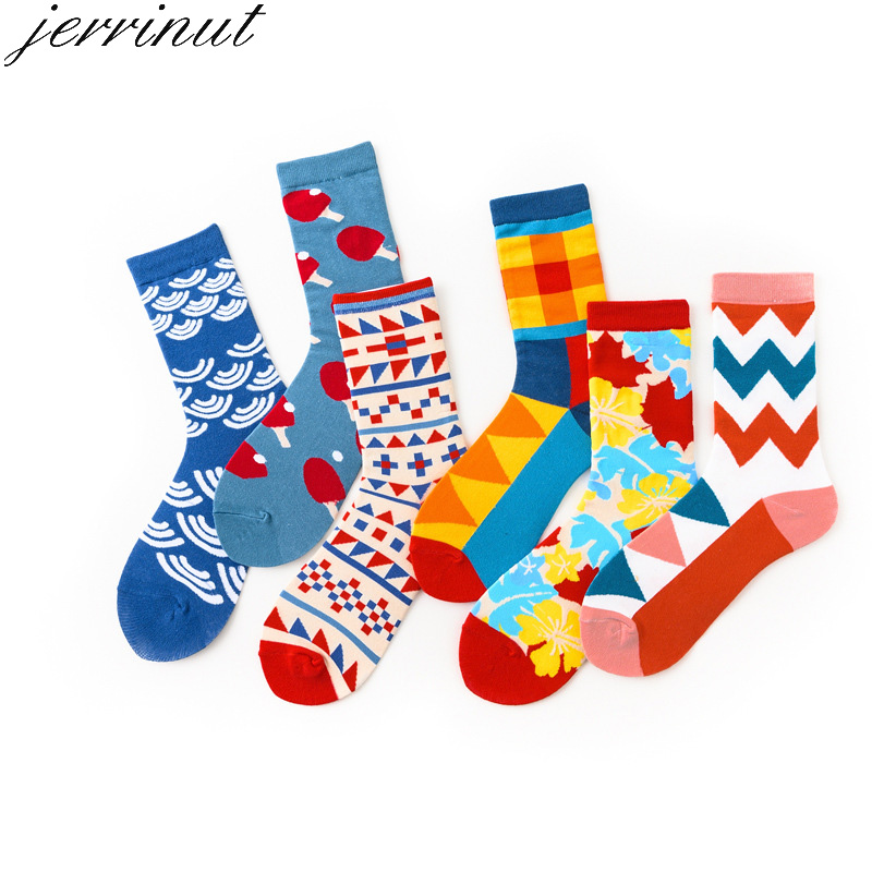 Jerrinut Men's Cotton Cute Socks With Print Spring Autumn Casual Happy Socks Fashion Cartoon Diamond Lattice Crew Socks 1Pair