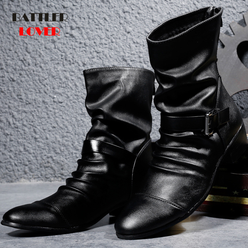 Men Italian Cowboy Punk Boots Punk Biker Motorcycle Botas for Male High Quality Black Leather Winter Booties Hombre Masculinas