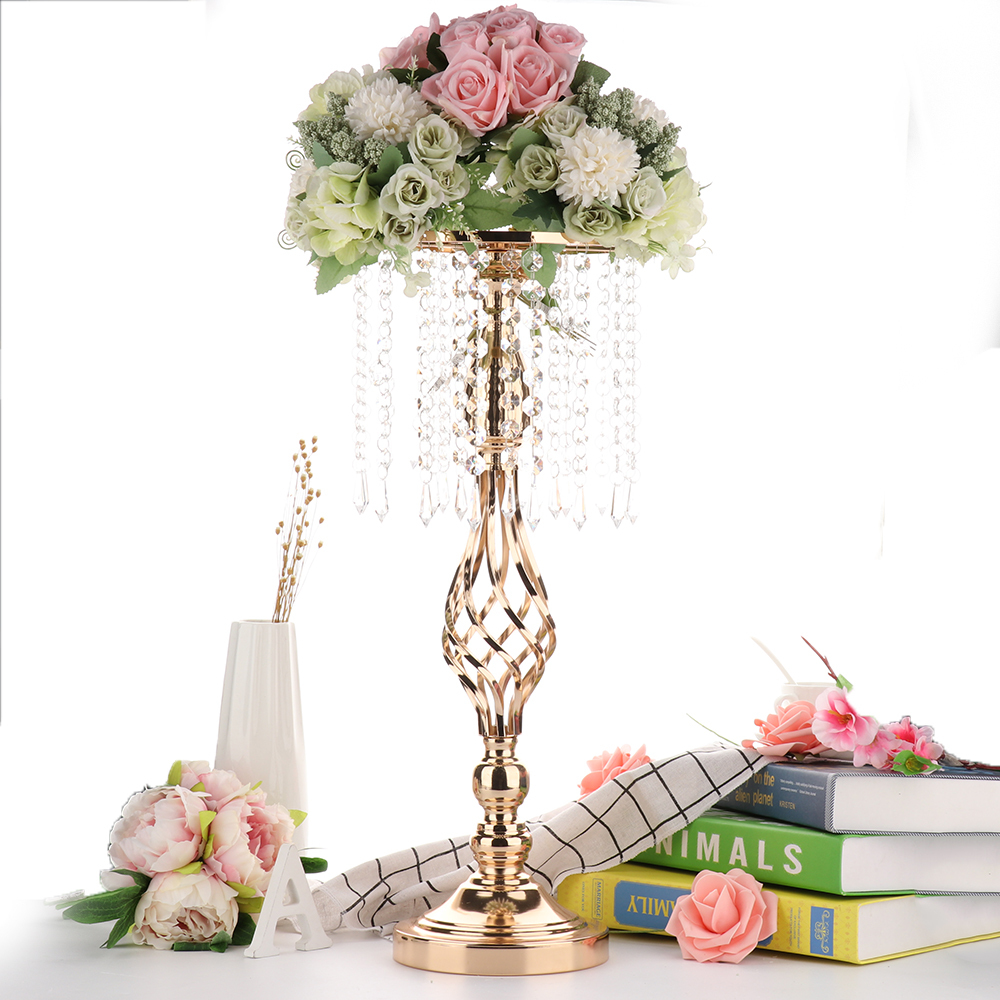 Table Center Centerpiece Tall Crystal Candlestick Candelabros de cristal Wedding Decoration Candle Holders image