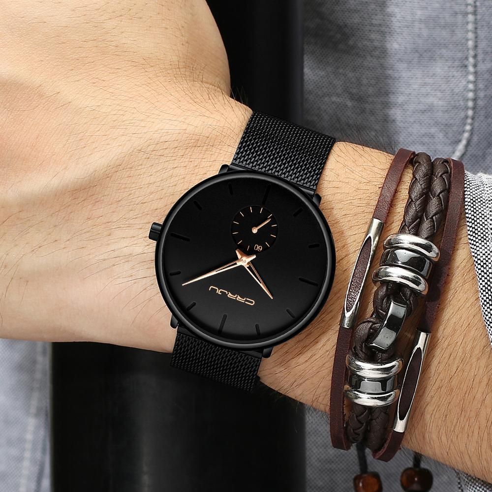 H56c51f9520894b38bf0449b0fbc8cfcdE CRRJU Ultra Thin Blue Stainless steel Quartz Watches Men Simple Fashion Business Japan Wristwatch Clock Male Relogio Masculino