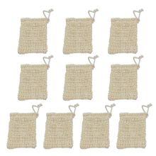 10 упаковок сизаль мыло мешок натуральный мягкий отшелушивающий сетка мыло бар мешок держатель