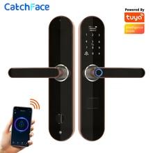 Tuya טביעות אצבע חכם דלת נעילת פעמון אלקטרוני מנעול Wifi קוד RFID כרטיס מפתח דיגיטלי בריח עבור אבטחה בבית