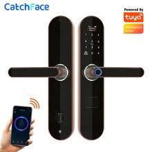 Tuya умный дверной замок с отпечатком пальца, электронный замок с дверным звонком, Wi Fi, код RFID карты, цифровой замок заглушка для домашней безопасности
