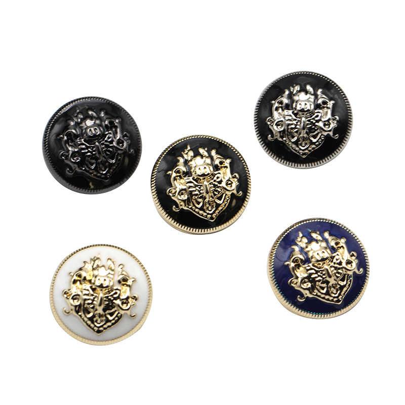 6 sztuk 10-28mm złoty złoty metal przyciski odzieży płaszcz akcesoria do szycia przyciski do odzieży rzemiosło czarny punkt przycisk oleju