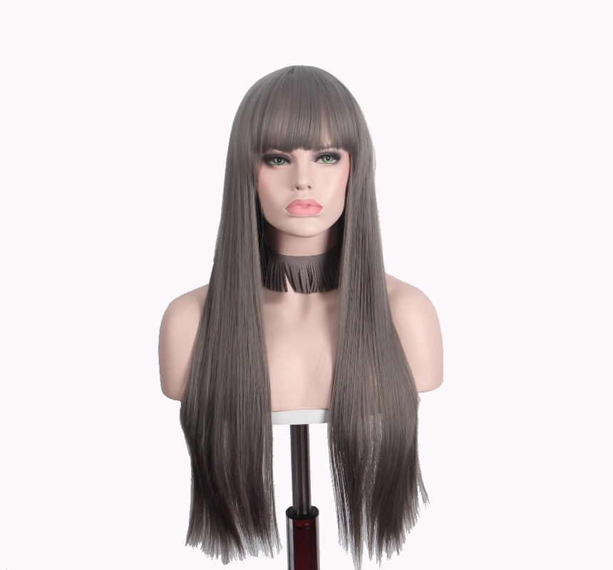 Long Wig Straight Anxin Wigs For Women Synthetic Brown Hair With Bangs (Brown) Cosplay Color As Natural