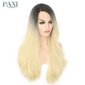 Pani perucas macias para preto feminino ondulado extensão do cabelo frontal do laço sintético 613 ombre peruca dianteira do laço cosplay peruca de renda loira natural