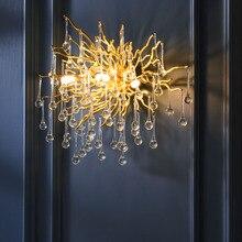 G9 kristal lüks led duvar ışık altın İskandinav TV arka plan duvar yatak odası için lamba başucu restoran duvar aplikleri AC90V 260 V