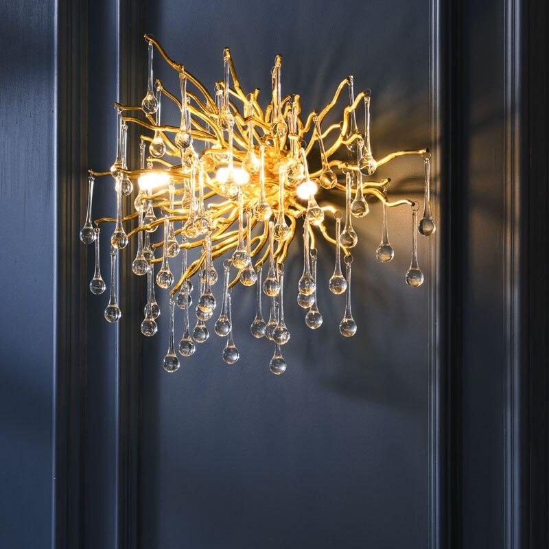 G9 Кристалл Роскошный светодиодный настенный светильник золотой скандинавский ТВ фон настенный светильник для спальни прикроватный Ресторан Настенные Бра AC90V 260 VКомнатные настенные LED -лампы    АлиЭкспресс