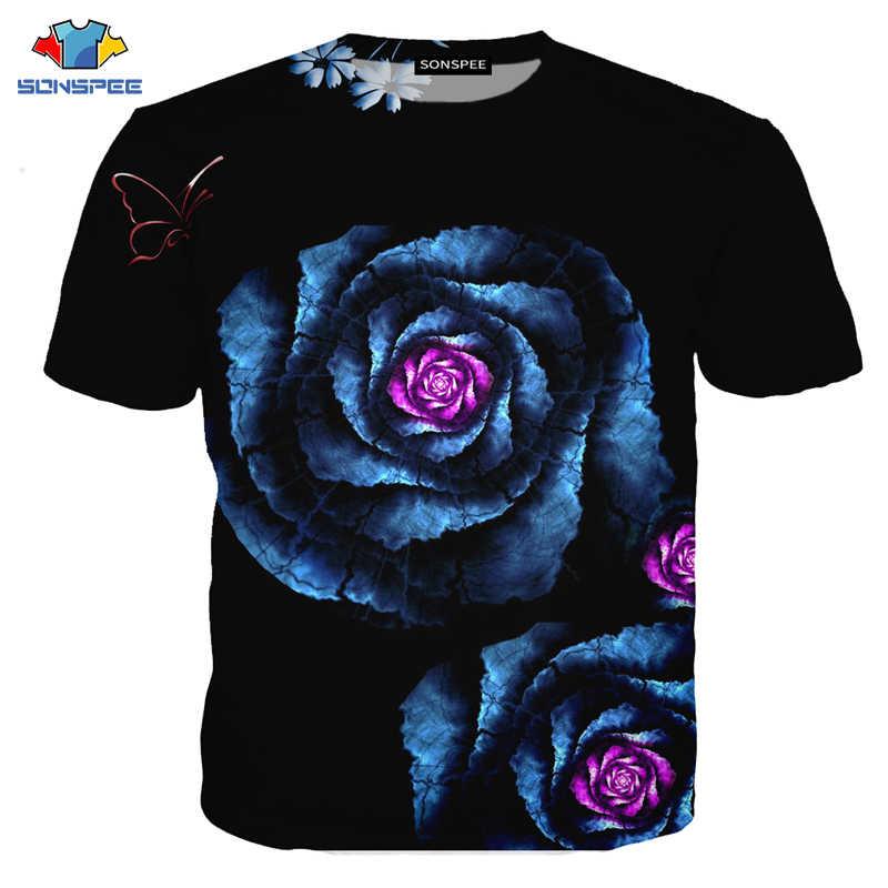 Camiseta de fábrica con estampado 3D de SONSPEE, camiseta de verano con flores y rosas para deportes al aire libre para hombre, Camiseta deportiva de Yoga para niños