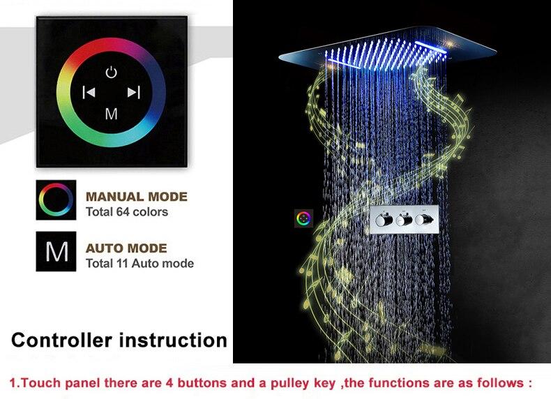 H56c57047c5f149a2b297a4a537eb9895e M Boenn Music Shower System Rain ShowerHeads LED Shower Set Bathroom Faucet Thermostatic Valve Matte Black/Chrome Bath Mixer Tap