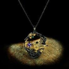 Очаровательное женское ожерелье с фиолетовым хрустальным кулоном