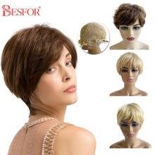 Недорогие короткие светлые человеческие волосы besfor парики