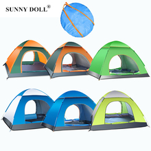 Camping Tent for 3-4 Persons Beach Tent Outdoor Automatic Speed Open Awning Large Family Tent Waterproof Hiking Tent Double Door bswolf 3 4persons double deck camping tent outdoor self driving camping hydraulic speed automatic tent 2use and 3use tent