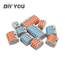 цена на 30/50/100PCS Wire Connector PCT-222 212/3/4/5/8 Compact Wiring Connector Conductor Terminal Block Push-in Terminal Block 2-8 Pin