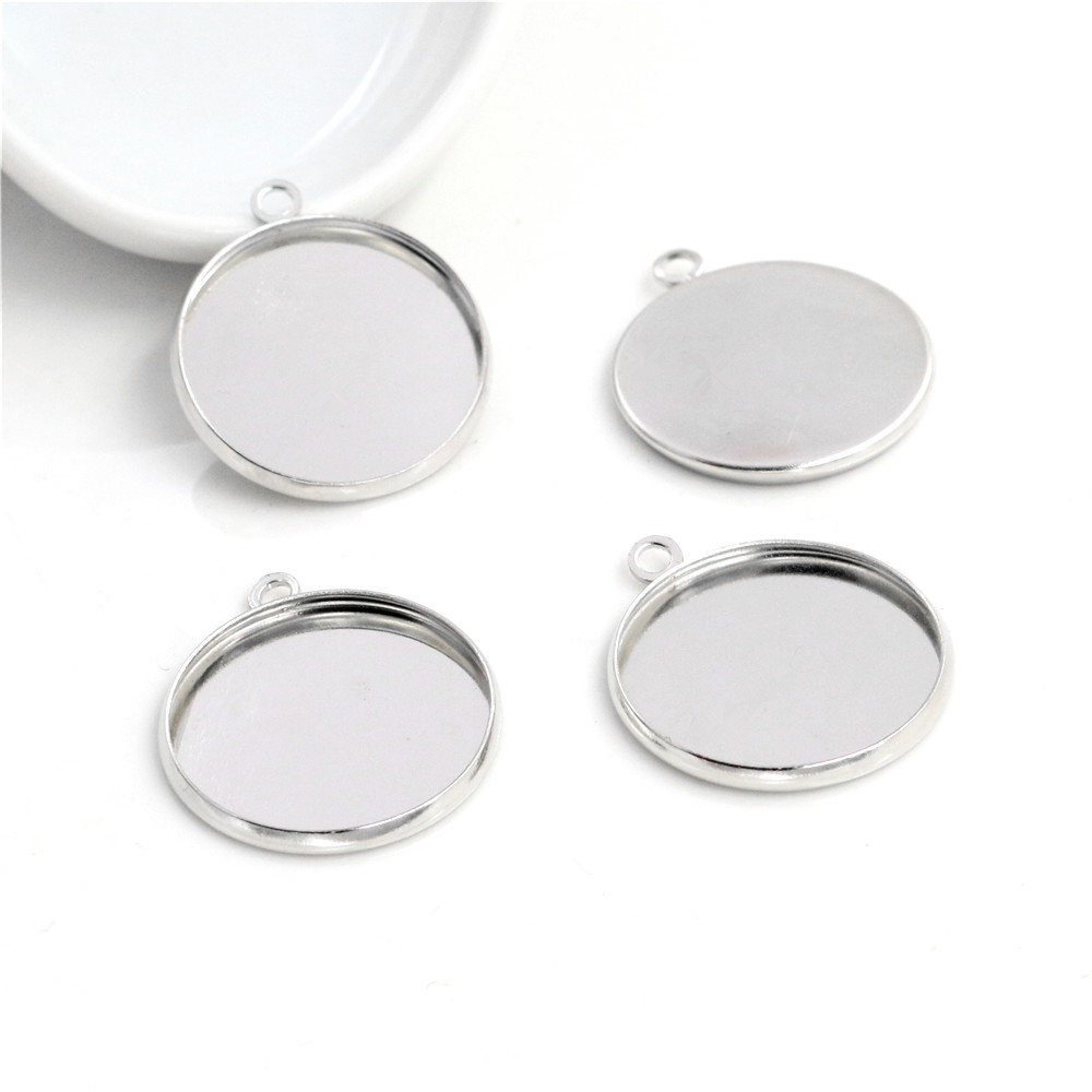 20pcs 20mm Inner Size Stainless Iron Material Rhodium Color Plated Simple Style Cabochon Base Cameo Setting Pendant Tray (S2-27)