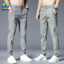 Summer New Thin Casual Pants Men 4 Colors Classic Style Fashion Business Slim Fit Straight Cotton Solid Color Brand Trousers 38 cheap JEYWOOD CN(Origin) Nylon Spandex Daily Smart Casual Flat Appliques Regular 28 - 38 Full Length Lightweight Broadcloth Zipper Fly