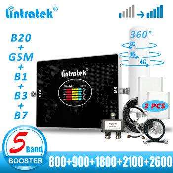 Lintratek 5 zespół komórkowej wzmacniacz LTE B20 800 GSM 900 1800 2100 2600 B7 powielacz i wzmacniacz sygnału telefonu komórkowego anteny 2G 3G 4G tanie i dobre opinie CN (pochodzenie) KW20L-LGDWL B20 800 +GSM 900+UMTS 2100 +LTE 2100 +2600 B7 UL 832-861 MHz DL 791-821 MHz UL 890-915 MHz DL 935-960 MHz