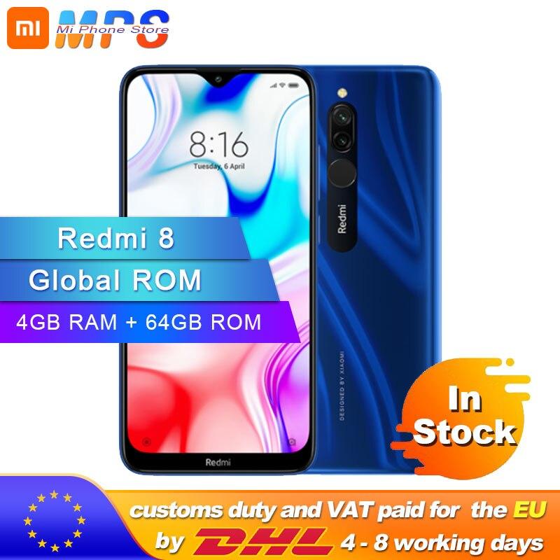 Global rom xiaomi redmi 8 4 gb 64 gb octa-core snapdragon 439 processador 12 mp câmera dupla smartphone 5000 mah redmi 8