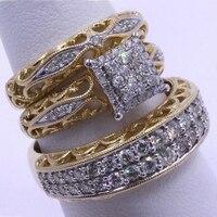 3 teile/satz Mode Bunte Zirkon Intarsien Hohl Metall Ring Für Frauen Zubehör Schmuck Party Hochzeit Geschenk
