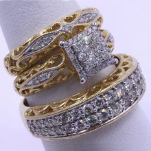 3 pcs/set Fashion Colorful Zircon Inlaid Hollow Metal Ring For Women Accessories Jewelry Party Wedding Gift