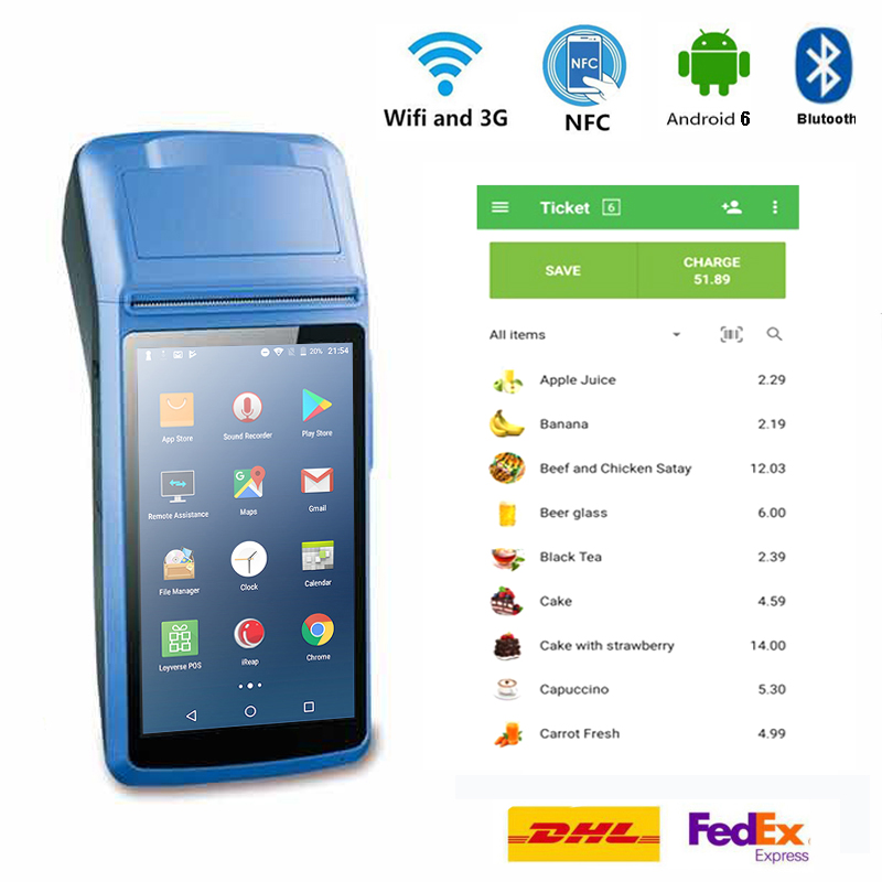Handheld Android PDA POS Terminal Printer 3G WIFI Bluetooth NFC Built-in Thermal Printer and Barcode Reader with Charger Dock image