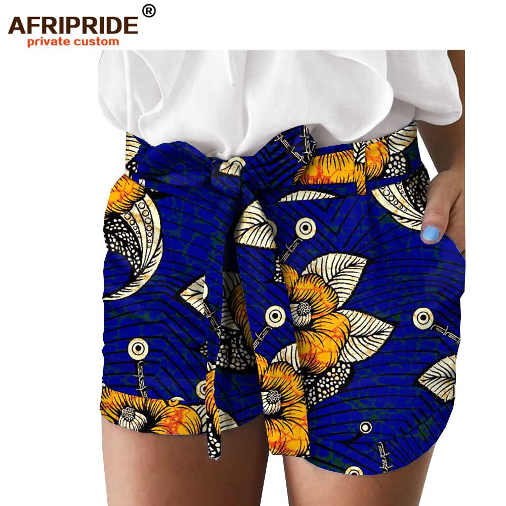 2019 African Print Summer Shorts For Women AFRIPRIDE Women Casual Shorts With Pocket Belt A1821005
