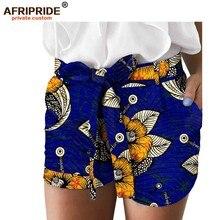 2019 african print summer shorts for women AFRIPRIDE women casual shorts with pocket belt A1821005 girls pocket side flower print shorts