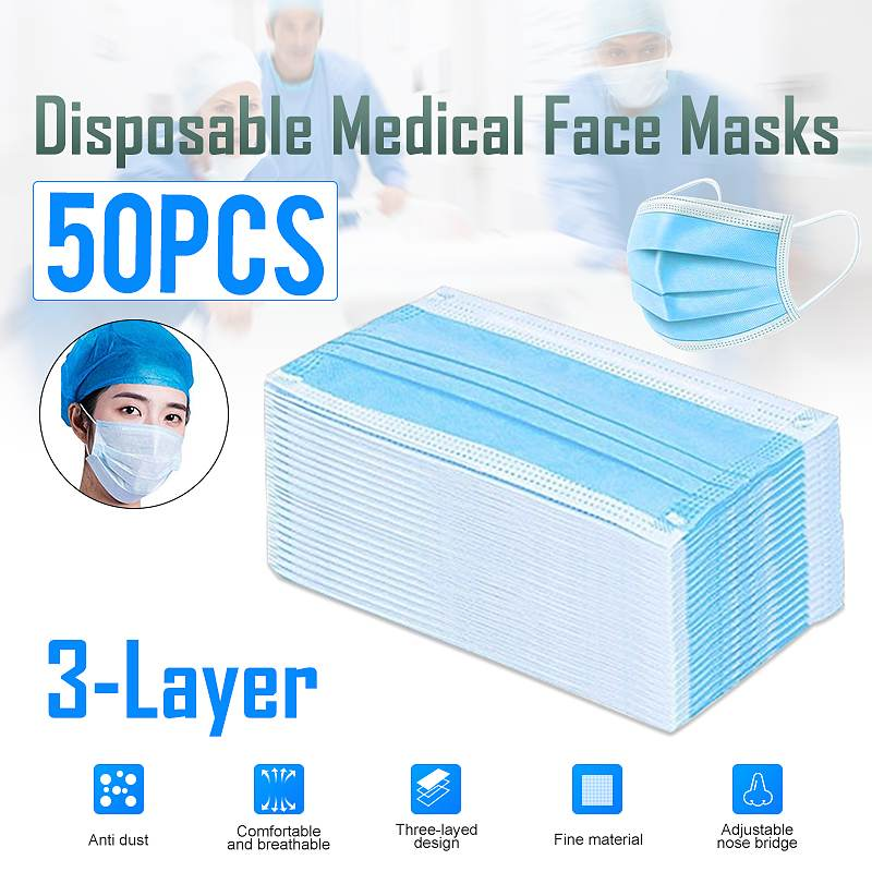 50PCS Non Woven Disposable Face Mask 3 Layers Medical Dental  Earloop Anti Dust Face Surgical Masks 2/10PCS KN95 Mouth Face Masks  -