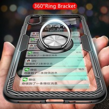 Luxury Magnetic Finger Ring Holder Phone Case For iPhone XS Max X XR 8 7 6S 6 Plus Shockproof Hybrid TPU Transparent Cases Cover