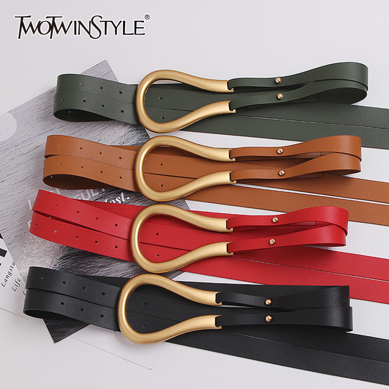 TWOTWINSTYLE Casual PU Leather Women's Belts Hit Color Novelty Double Long Belt For Female 2020 Fashion Accessories Tide
