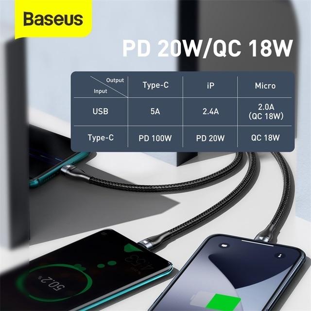 Baseus 3 in 1 USB Ladekabel PD 100W 6