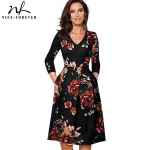 Image 1 - Güzel sonsuza kadar Vintage katı renk V yaka pin up cepler vestidos A Line iş parti kadın Flare salıncak kadın elbise A126