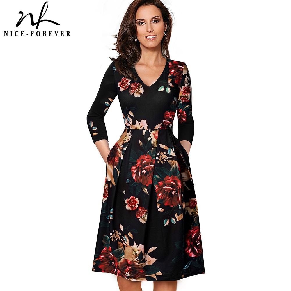 Nice-forever Vintage Solid Color V Neckline Pinup Pockets Vestidos A-Line Business Party Female Flare Swing Women Dress A126