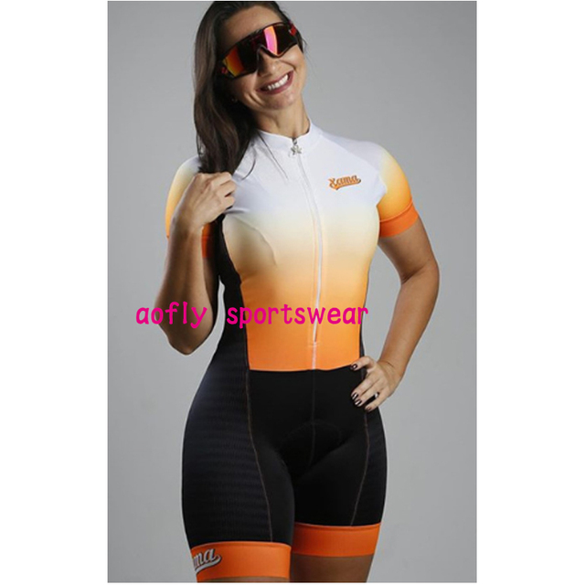 Macaco feminino bicicleta gradiente cor ciclismo feminino xama pro equipe triathlon terno das mulheres camisa de ciclismo skinsuit macacão conjunto gel 3