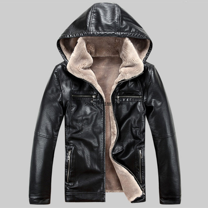 2019 Newest Fashion Leather Jacket Men Winter Thicken Leather Jackets Coats Windproof Jacket Male Jaqueta Couro Masculina 5XL