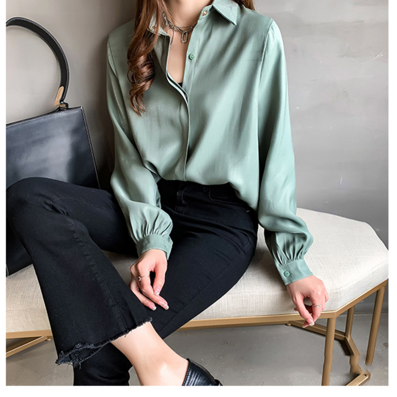 2020 Spring Formal Shirt Plus Size Women Lapel Lantern Sleeve Blouse  Concise Style Official Lady Shirt