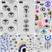 Caso de telefone transparente para iphone xr mau olho ilustrações caso de telefone para iphone 11 12pro mini max x 6 7 8 plus tpu macio capa