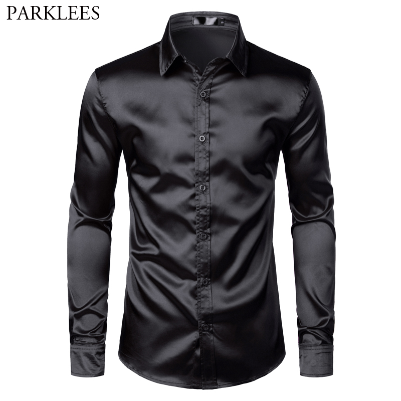 Men's Black Satin Luxury Dress Shirts 2019 Silk Smooth Men Tuxedo Shirt Slim Fit Wedding Party Prom Casual Shirt Chemise Homme 1