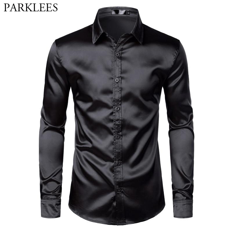 Men's Black Satin Luxury Dress Shirts 2019 Silk Smooth Men Tuxedo Shirt Slim Fit Wedding Party Prom Casual Shirt Chemise Homme 1