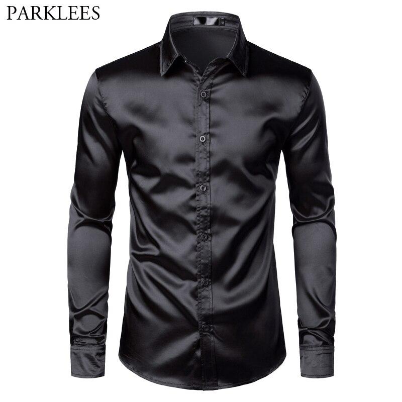 Hommes noir Satin luxe robe chemises 2019 soie lisse hommes smoking Chemise mince coupe mariage fête bal décontracté Chemise Chemise Homme