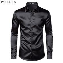 Men's Black Satin Luxury Dress Shirts 2019 Silk Smooth Men Tuxedo Shirt Slim Fit Wedding Party Prom Casual Shirt Chemise Homme